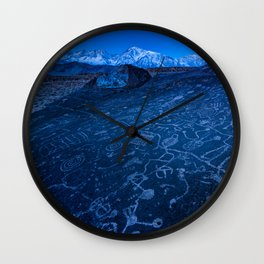 Sunrise On Sky Rock Petroglyph And Sierra Nevada Mountains Wall Clock