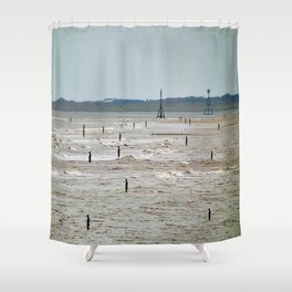 Gormley Statues on the beach (Digital Art) Shower Curtain
