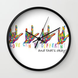 ASL Love Can Be Different Wall Clock