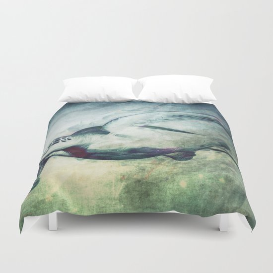 Flying Green Sea Turtle Duvet Cover