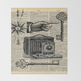 nautical compass dictionary print steampunk skeleton keys antique camera Throw Blanket