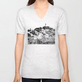 Telegraph Hill Print Black and Grey Unisex V-Neck