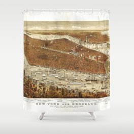 Aerial View of New York and Brooklyn (1875) Shower Curtain
