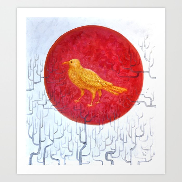 Three-legged crow (Chinese Sun spirit) Art Print