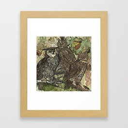 My owls in batik style Framed Art Print