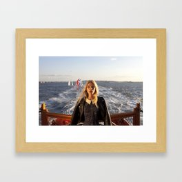 The Ferry, with Sailboats Framed Art Print