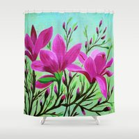 musa Shower Curtains featuring Magnolias by maggs326