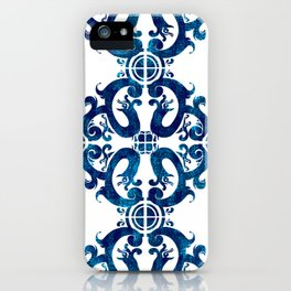 Blue carved tile ceramic effect iPhone Case