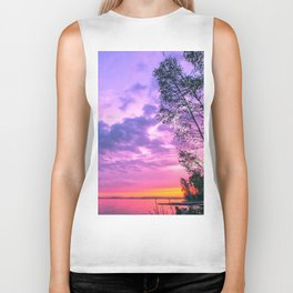 Day fading into the lake Biker Tank
