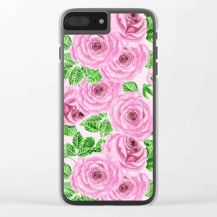 Pink watercolor roses with leaves and buds pattern Clear iPhone Case