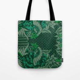 Green Batik floral pattern Tote Bag