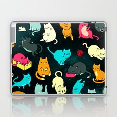 Cat Space - Turquoise Orange Pink Black Cat Galaxy Stars Star Kitty Pattern iPhone Case Cover Laptop & iPad Skin