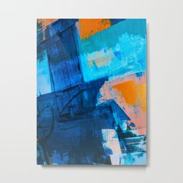 Seaside: a vibrant abstract painting in blue pink and orange by Alyssa Hamilton Art  Metal Print