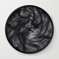 furry Wall Clocks featuring furry swirl by Matthias Hennig