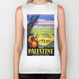 Palestine, vintage travel poster Biker Tank