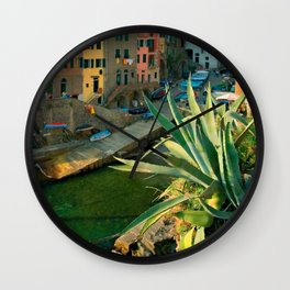 Italy. Cinque Terre - Canal side Close Up Wall Clock