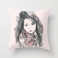 viria Throw Pillows featuring pale flowers by viria