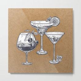Vintage Cocktails on Kraft Metal Print
