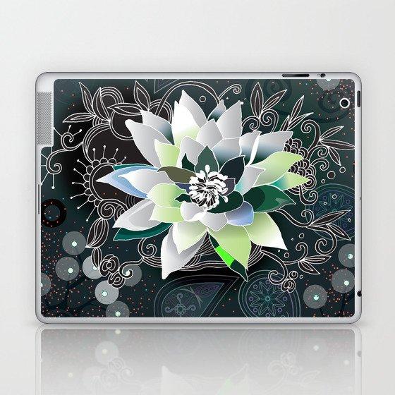 Dark blue and black zentangle inspired waterlily  Laptop & iPad Skin