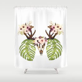 Exotic Tropical Floral Leaves Skull Antlers Shower Curtain