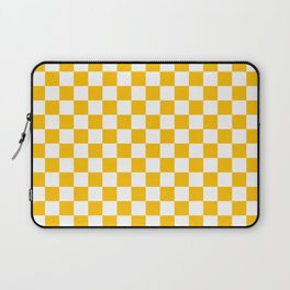 White and Amber Orange Checkerboard Laptop Sleeve