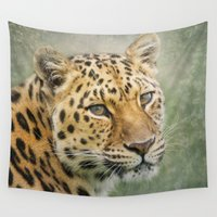 leopard Wall Tapestries featuring Leopard by Pauline Fowler ( Polly470 )