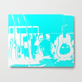 Sun Studio Guitars, Blue Metal Print