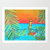 dreaming of tropical sliders hang 10 surf dude Art Print