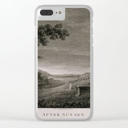 A distressed woman leaning on a tombstone in a deserted graveyard. Etching with engraving by John Br Clear iPhone Case