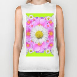 Chartreuse Green Color Shasta Daisies & Rose Pattern Biker Tank