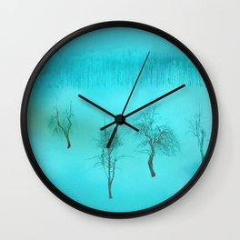 Bare bones in Winter ~ Blue Wall Clock