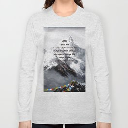 Serenity Prayer With Panoramic View Of Everest Mountain Long Sleeve T-shirt