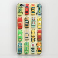 orange iPhone & iPod Skins featuring Car Park by Cassia Beck