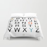 alphabet Duvet Covers featuring Alphabet by Tavia Lawrence