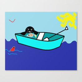 The Seal and The Boat Canvas Print