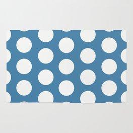 Large Polka Dots on Blue Rug