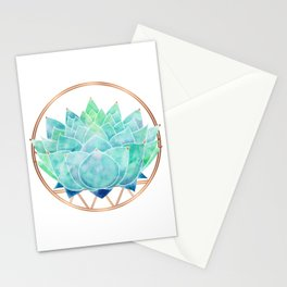 Modern Blue Succulent with Metallic Accents Stationery Cards