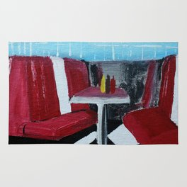 American Diner Impressionist Acrylic Fine Art Rug