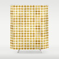 gold dots Shower Curtains featuring Gold Dots by MORE BY JAMIE PRESTON