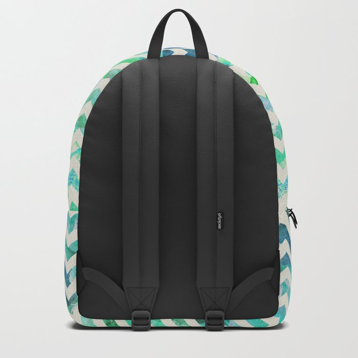 GREEN FLORAL CHEVRON Backpack