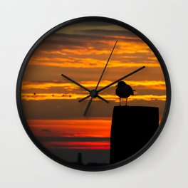 Gull at Sunrise Wall Clock