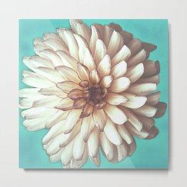 Vintage Large White Flower Metal Print