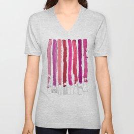 Lipstick Stripes - Floral Fuschia Red Unisex V-Neck