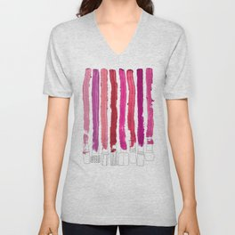 Lipstick Stripes - Floral Fuschia Red Unisex V-Neck