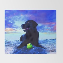 Ziggy Black Labrador Throw Blanket