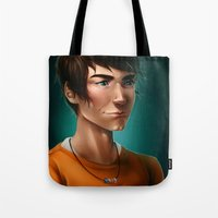 percy jackson Tote Bags featuring Percy Jackson by spookzilla