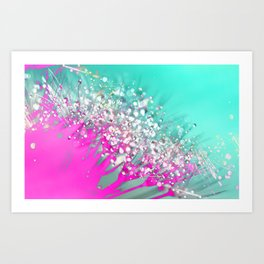 Pink and Turquoise Abstract Digital Photographic Floral Art Art Print