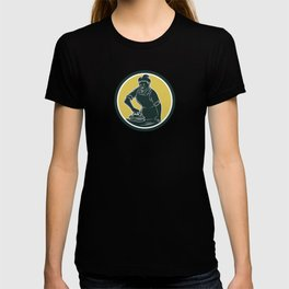 African American Woman Ironing Clothes Woodcut T-shirt