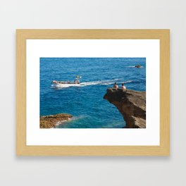 People on an islet Framed Art Print