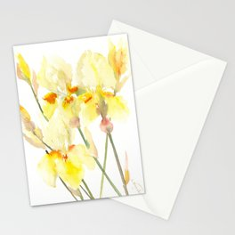 Yellow Irises, Soft yellow Floral Art Stationery Cards